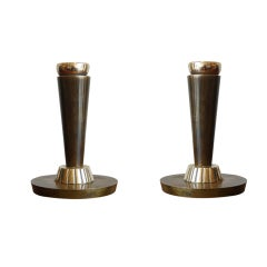 Pair of Bronze Candlesticks by Just Andersen