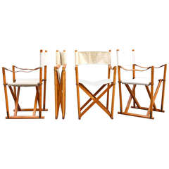 Set of Four MK-16 Folding Chairs by Mogens Koch