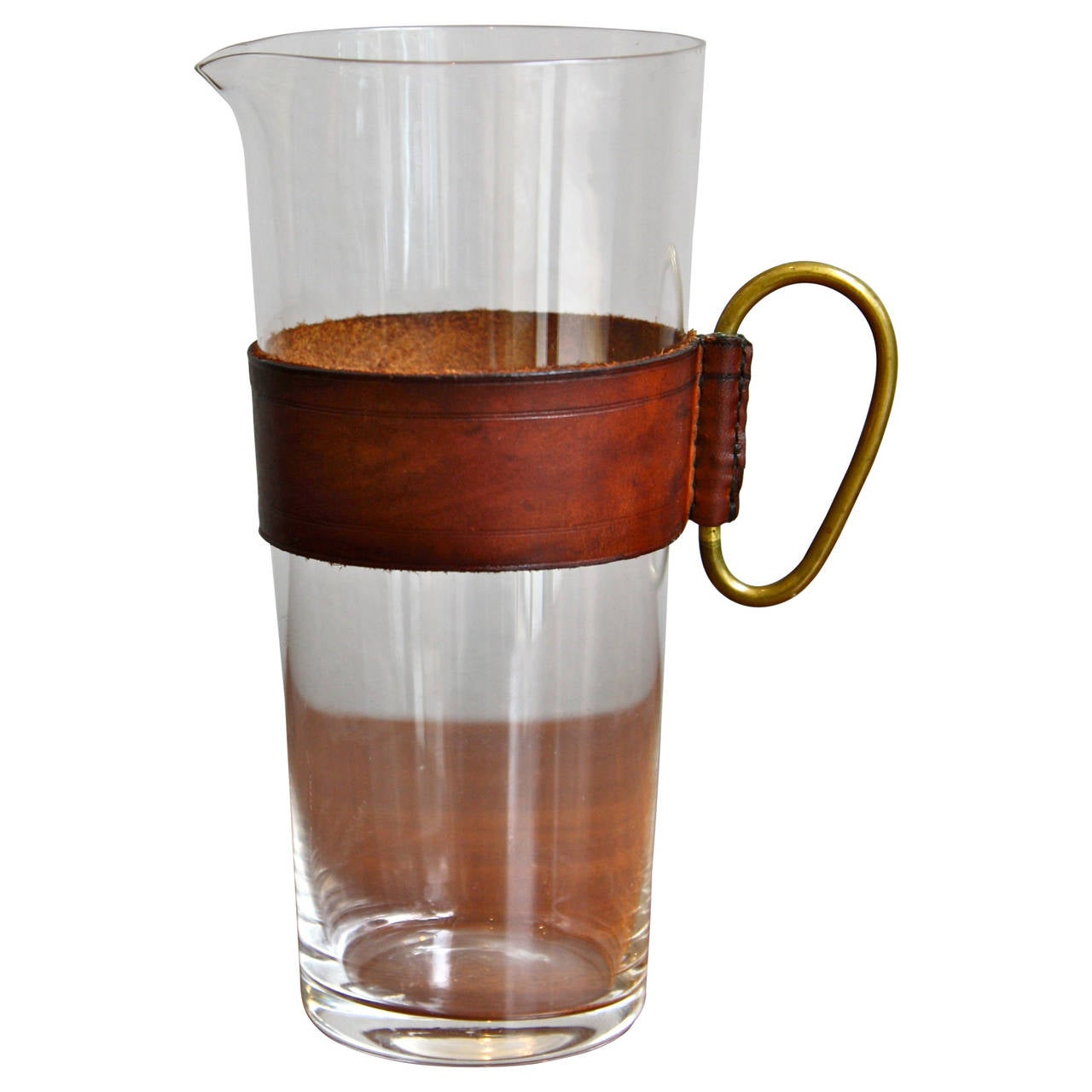 carl auböck leather brass and glass drinks pitcher at 1stdibs