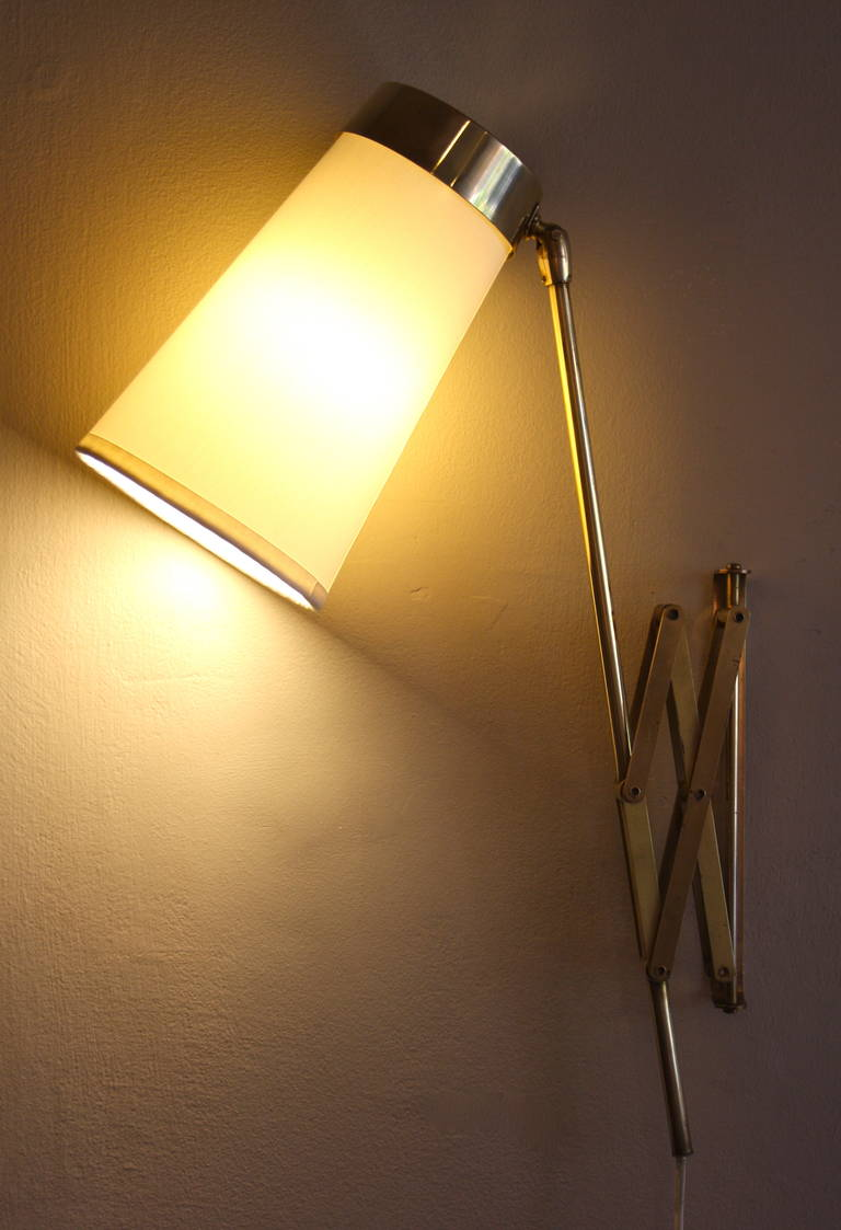 Large Brass Concertina Wall Light at 1stdibs