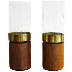 Pair of Candle Holders With Glass Covers by Carl Aubock