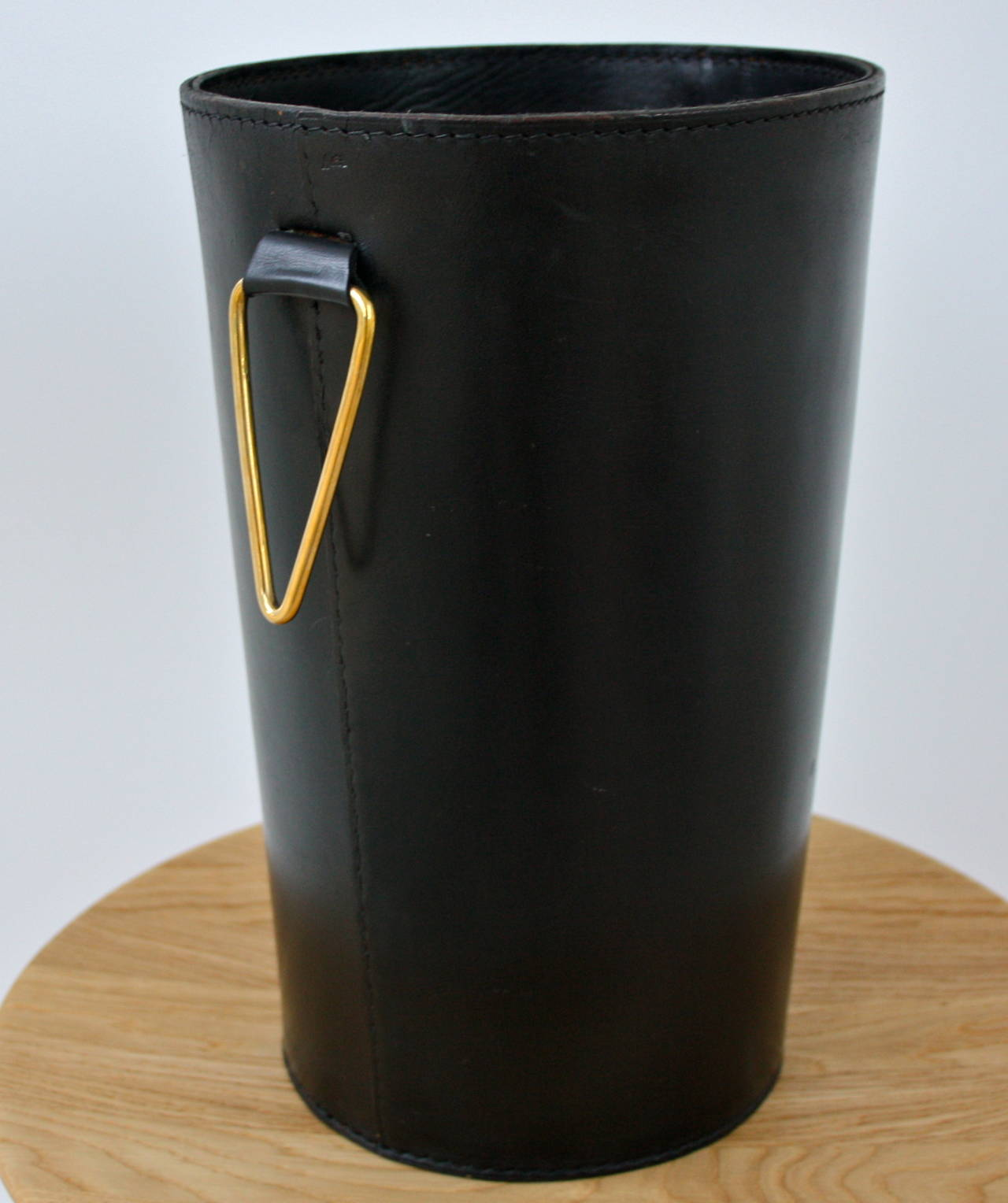 Elegant black leather waste paper basket by carl aub ck at 1stdibs - Elegant wastebasket ...