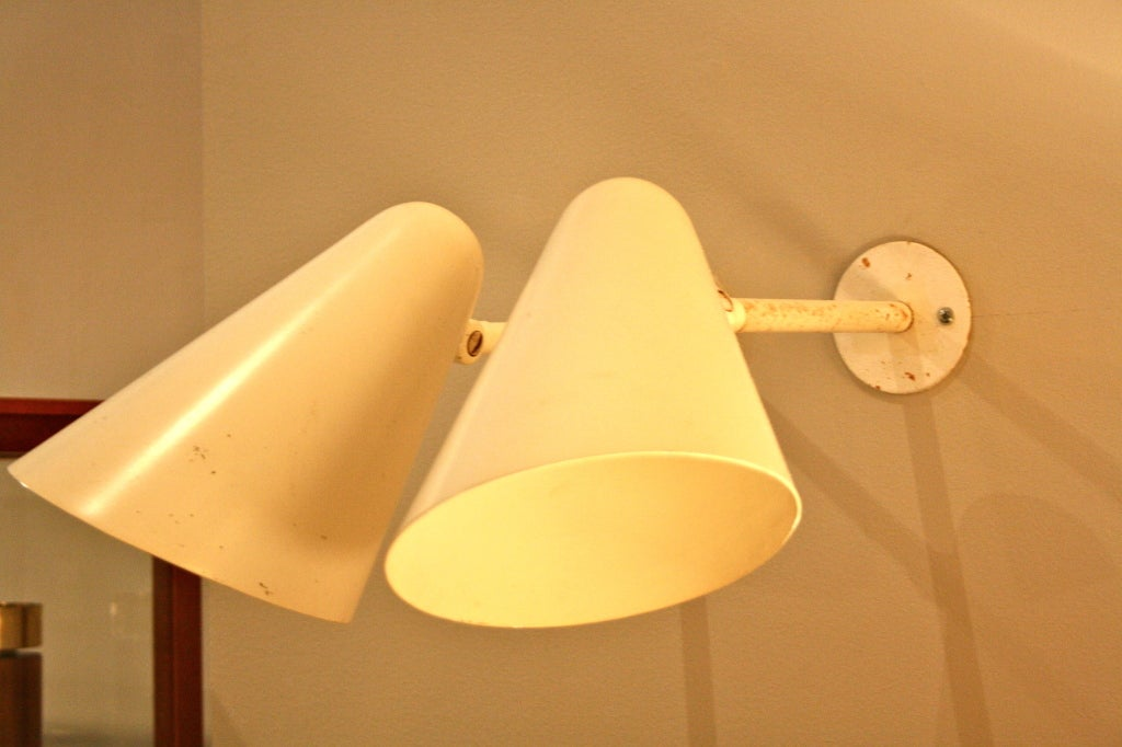Pair of White Painted Metal Wall Lights at 1stdibs