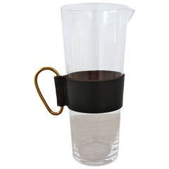 Carl Aubock Large Glass Jug with a Leather Sleeve and a Brass Handle