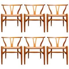 Set of Six Hans Wegner Wishbones Chairs