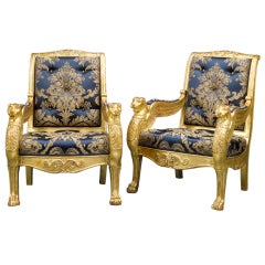 French Giltwood Arm Chairs