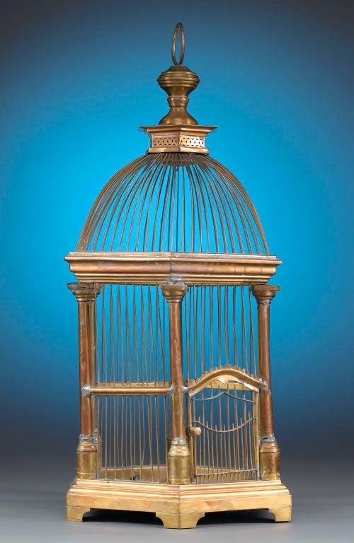 French Brass Hexagonal Birdcage 2
