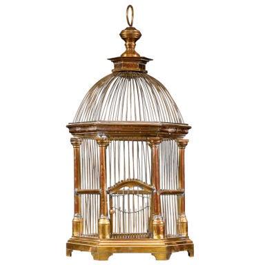 French Brass Hexagonal Birdcage