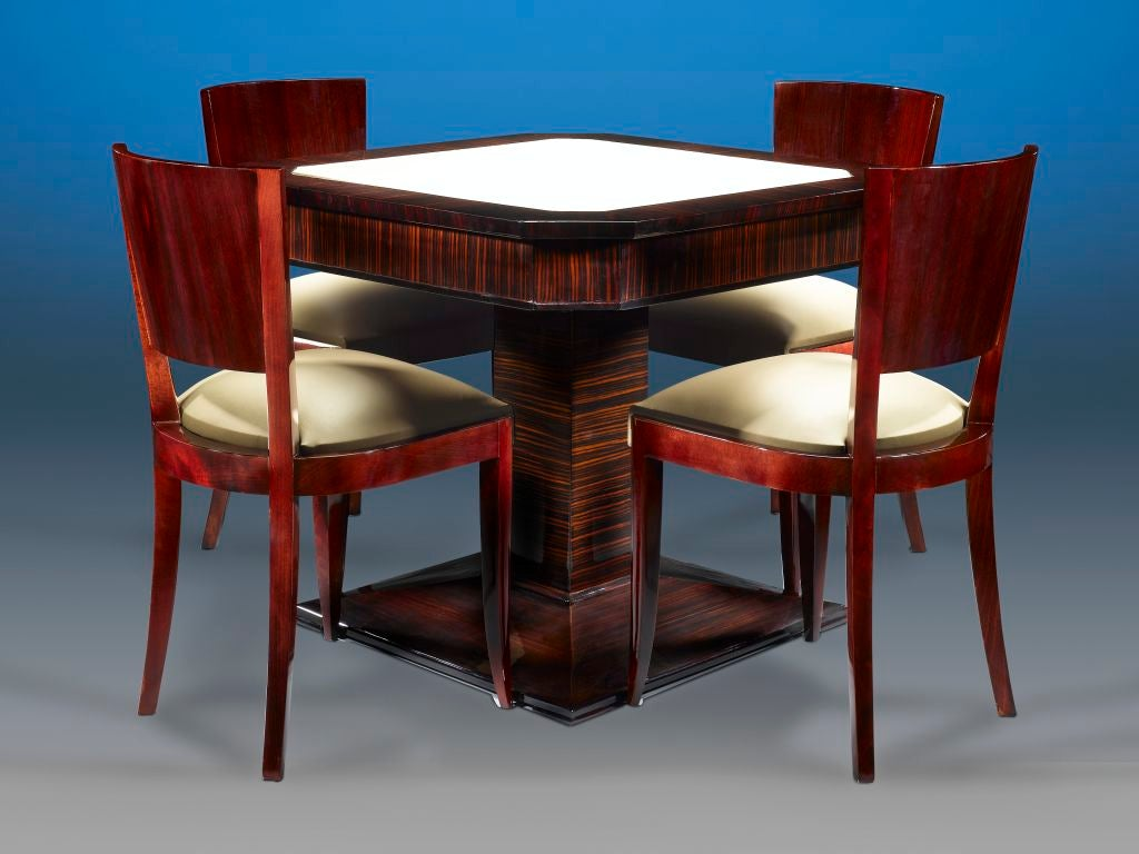 Art deco card table and chairs at 1stdibs for Furniture table and chairs