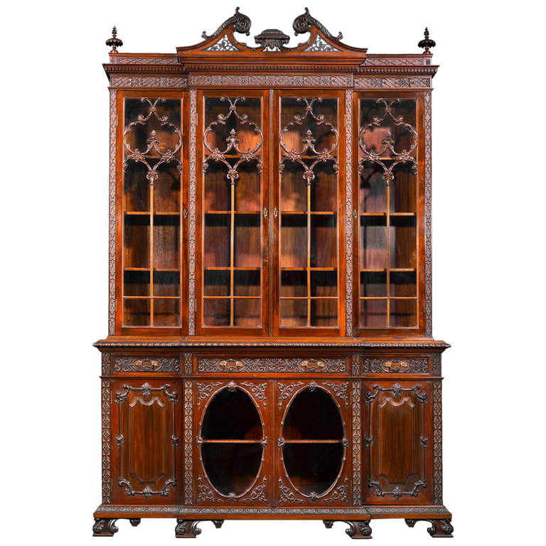 Mahogany chippendale style breakfront at 1stdibs for What is the other name for the rococo style