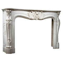 Louis XV Carrara Marble Mantel