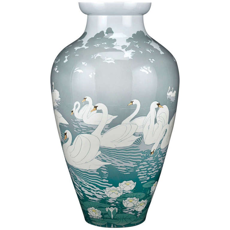 Sevres Swan Vase From 1900 Paris Worlds Fair At 1stdibs