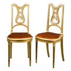 Pair of Louis XVI Style Hall Chairs