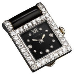 Cartier Lady's Platinum Yellow Gold Diamond Onyx Clip Wristwatch