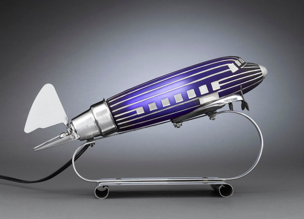 Art Deco Cobalt Glass And Chrome Airplane Lamp At 1stdibs
