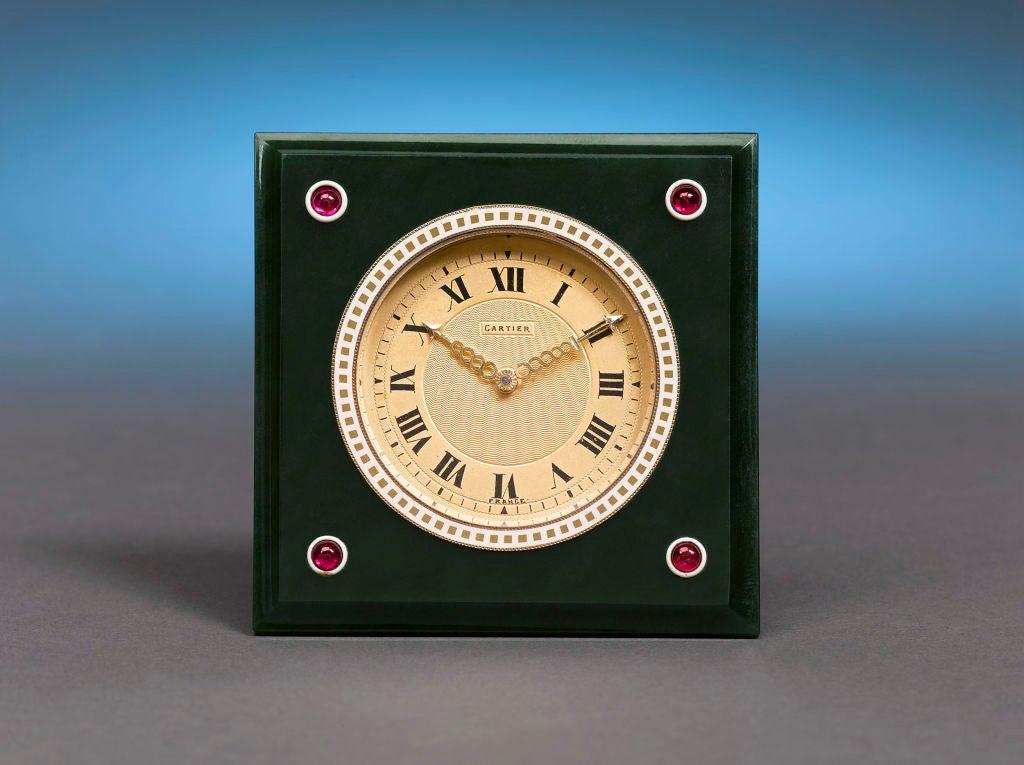 Cartier Nephrite, Ruby & Enamel Desk Clock 2
