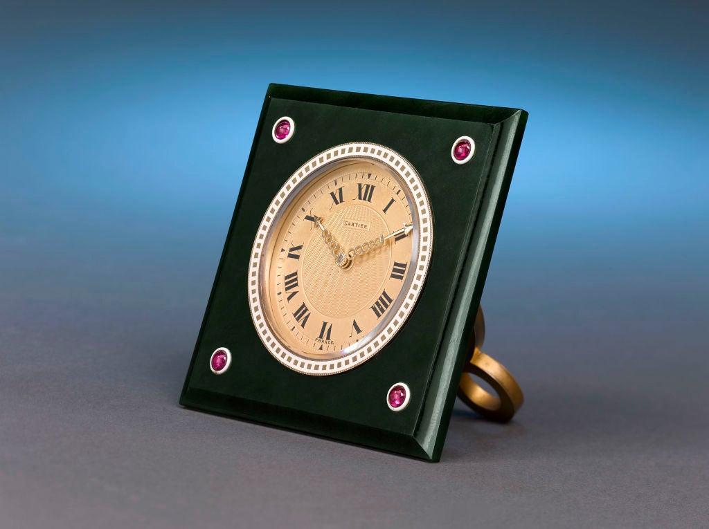 Cartier Nephrite, Ruby & Enamel Desk Clock 3