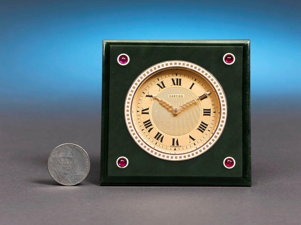 Cartier Nephrite, Ruby & Enamel Desk Clock 5