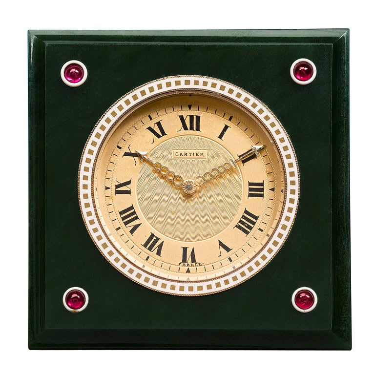 Cartier Nephrite, Ruby & Enamel Desk Clock