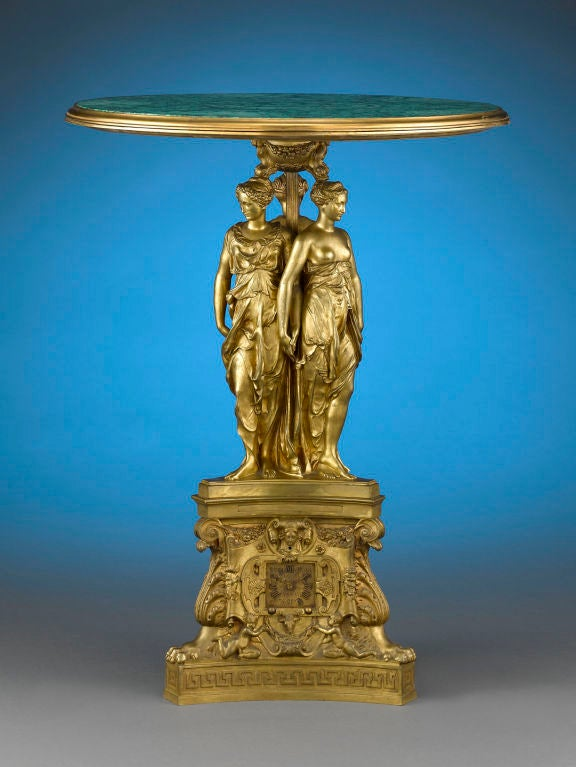 Exquisite malachite adorns the top of this majestic and rare ormolu table. Crafted in the highly detailed Rococo Revival style, the table is an ode to classical mythology, and features the elegant figures of the Three Graces, the goddesses of