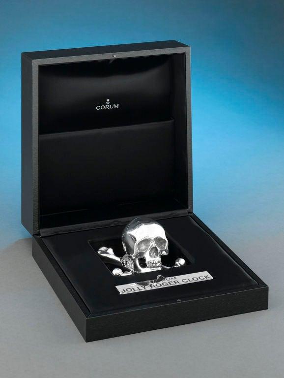Sterling Silver Corum Skull Clock