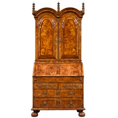 Queen Anne Burl Walnut Secretary
