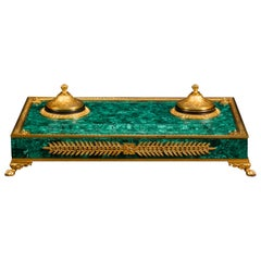 Russian Malachite and Bronze Inkwell