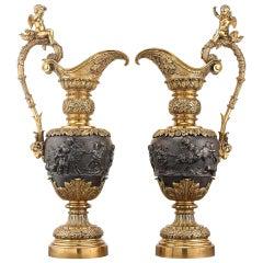 Renaissance Revival Bronze Ewers