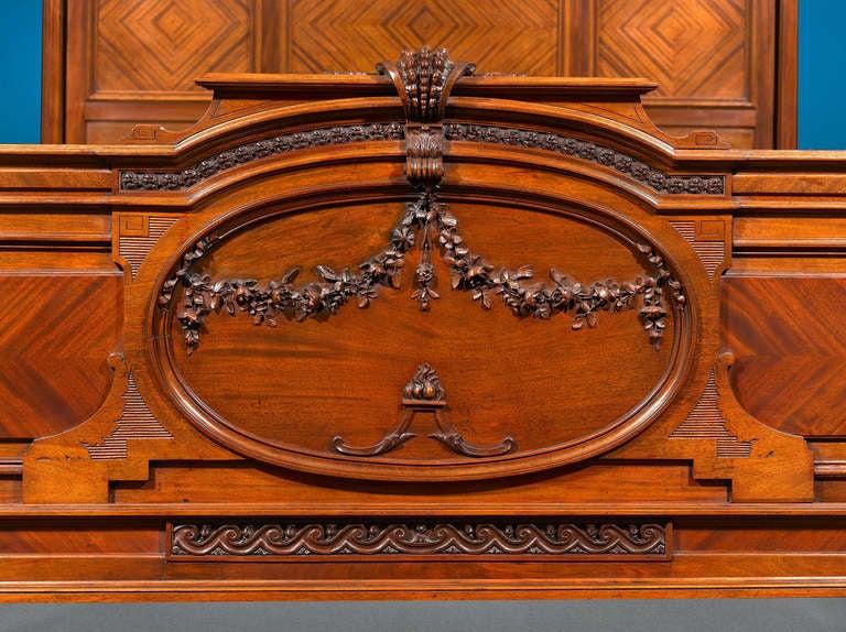 Carved Mercier Frères Double Bed For Sale