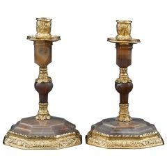 George IV Silver Gilt and Agate Candlesticks by Edward Farrell