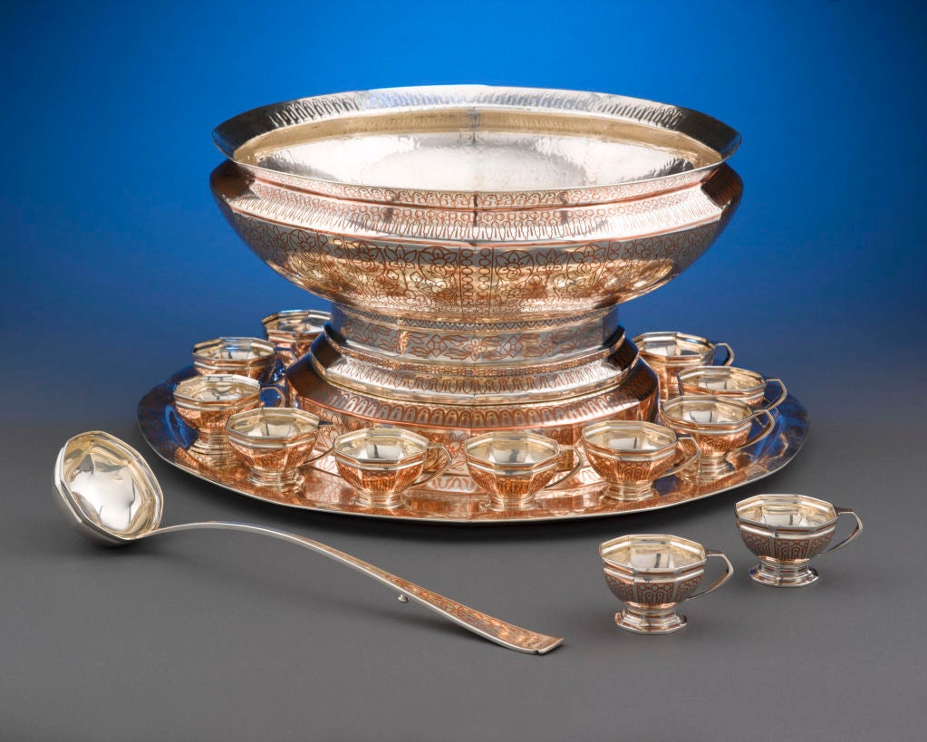 American Tiffany & Co, Copper Inlaid Silver Punch Service For Sale
