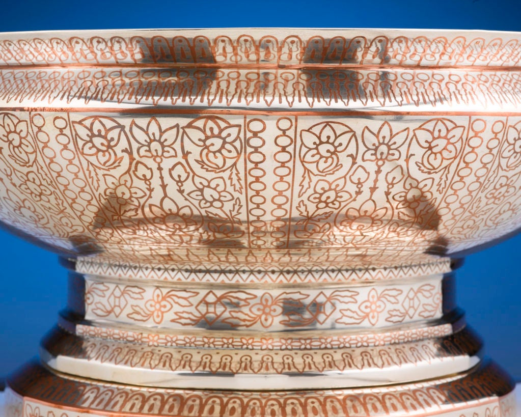 Tiffany & Co, Copper Inlaid Silver Punch Service In Excellent Condition For Sale In New Orleans, LA