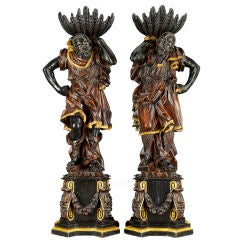 Pair of Ebonized Venetian Blackamoors