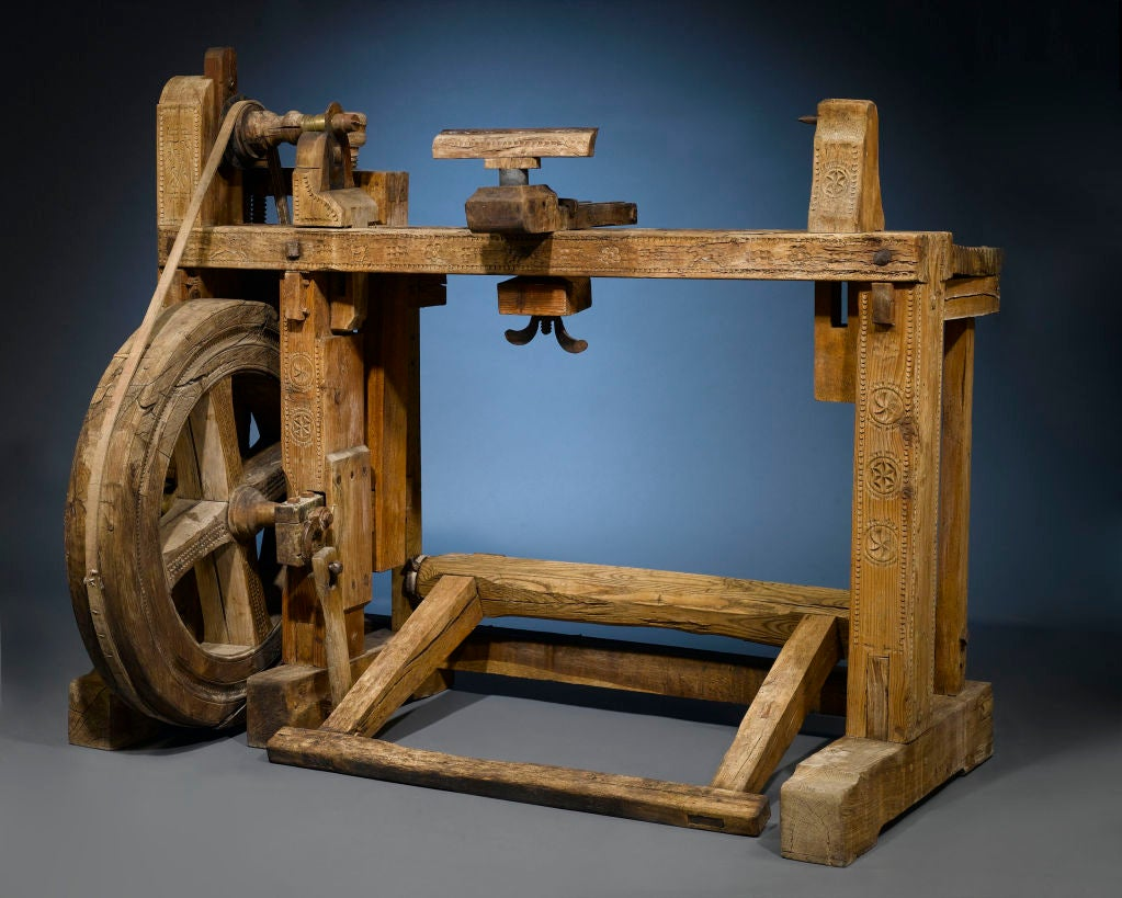 French Antique Woodworker's Lathe