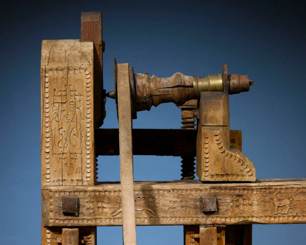 Leather Antique Woodworker's Lathe
