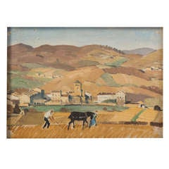 """Adolphe Valette oil painting on board """"Salles Ploughing"""", England 1971"""