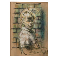 Harold Riley charcoal and pastel drawing, England 1952
