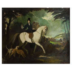 "Zinkeisen painting oil on canvas ""Lady riding in woods"", England circa 1960"