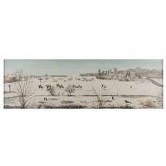"Leslie Worth painting ""Frosty morning, Epsom common"", England circa 1955"