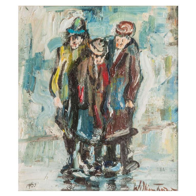 """William Turner oil on board painting """"Three Singers"""", England 1983"""