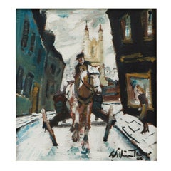 William Ralph Turner oil on board painting of Angel street, Manchester 1955