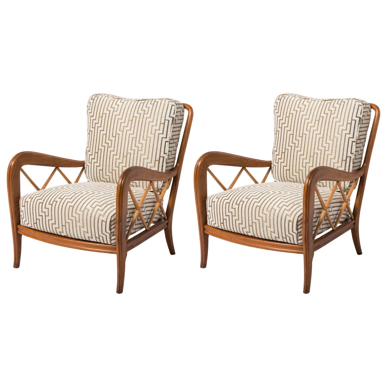 Cherry wood armchairs in the style of Paolo Buffa, Italy circa 1940