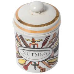 Piero Fornasetti porcelain nutmeg jar with cover, Italy circa 1960