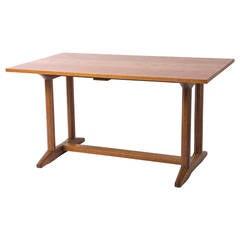 Gordon Russell oak trestle refectory table, England 1927