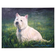 Oil on Canvas - West Highland  Terrier by Sandra Massie Forbush