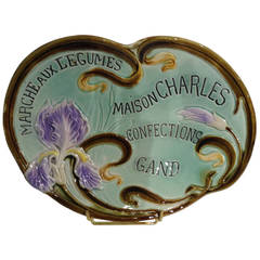 Majolica Art Nouveau Advertising Wall Plaque
