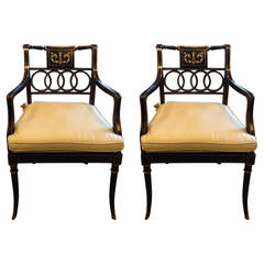 Pair of Baker Black Lacquer and Gilt Armchairs