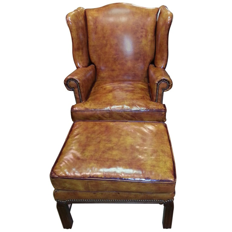 Fine Leather Wingback Chair And Ottoman At 1stdibs