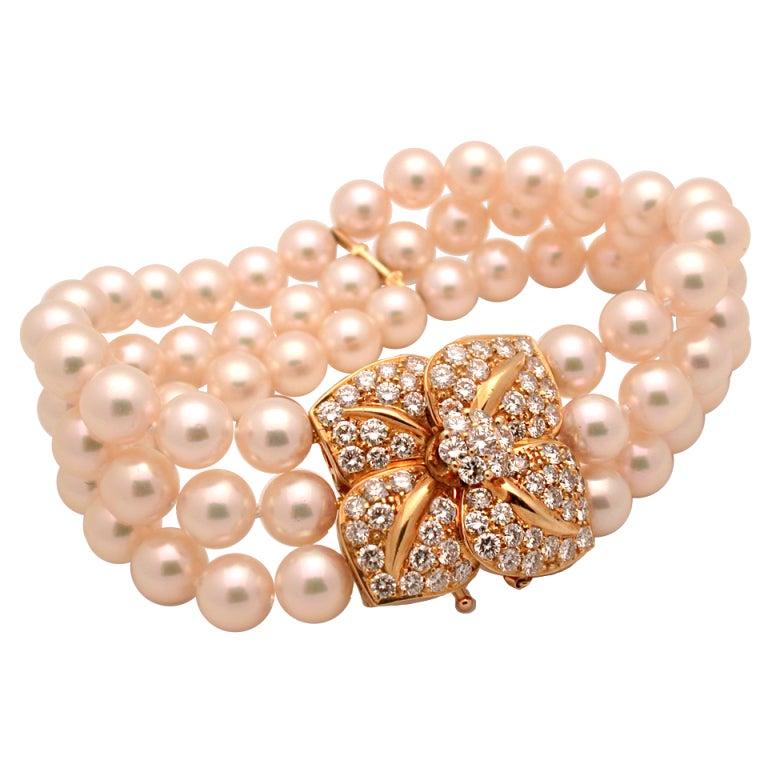Mikimoto Cultured Akoya Pearl Bracelet At 1stdibs