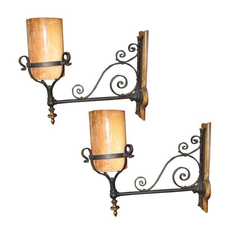 Wall Sconces Iron : PAIR OF ENGLISH WROUGHT IRON WALL SCONCES at 1stdibs